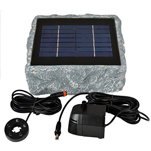 profi-pumpe.de SOLAR TEICHPUMPE GARTENBRUNNEN und LED LICHT - WASSERSPIEL ZIERBRUNNEN VOGELBAD SOLARBRUNNEN für Garten TEICH- sehr DEKORATIVES STEINDESIGN, RÜGEN 200-1 SOLAR-TEICH-Set