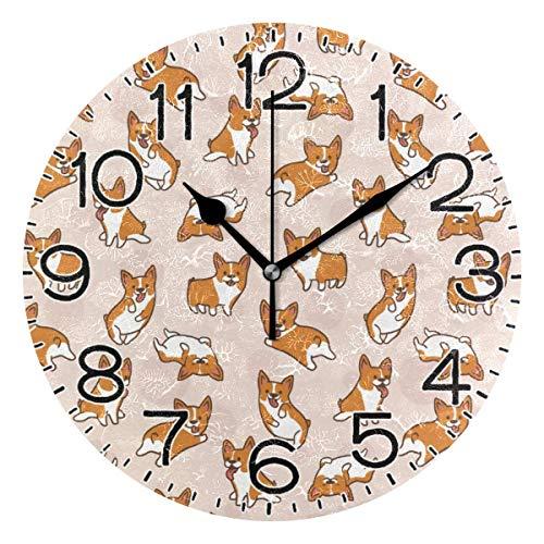 Mdt Bonito reloj de pared con diseño de corgi, funciona con pilas, silencioso, de cuarzo, analógico, rústico, rústico, decoración retro para el hogar, cocina, sala de estar, baño