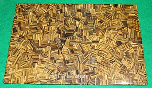 Mesa de comedor rectangular de 86 x 150 cm con ojo de tigre para sala de pasillo