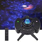 Proyector Estrellas y Luna, LED de Luz Nocturna Océano, 43 Modo de Color, Altavoz de Música Bluetooth Incorporado con Temporizador y Sensor de Sonido para Niños, Adulto, Cumpleaños y Fiesta Negro