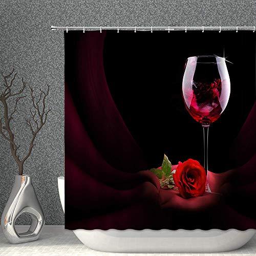 N\A Vino Tinto y Rosa Cortina de Ducha Vinos Finos Flor Copa de Vino Romance Amor Negro Rojo Decoración Tela Cortinas de baño Poliéster Impermeable con Ganchos