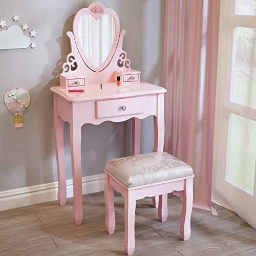 J jeffordoutlet Pink Girls Dressing Table, Little Vanity Table for 3,4,5,6,7,8 Years Old Kid Girl, European Princess Style Dressing Table