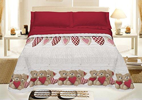 IlGruppone Copriletto Estivo Made in Italy 100% Cotone Piquet Singolo Matrimoniale Orsetti - Rosso - 1 Piazza