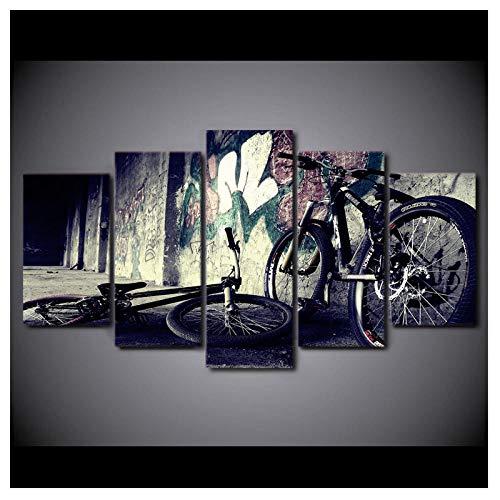 Wxswz Pinturas De Lienzo Impresas 5 Piezas BMX Bike Graffit Street Wall Art Lienzo Cuadros para Sala De Estar Dormitorio Decoración del Hogar 30X50 30X70 30X80Cm Sin Marco