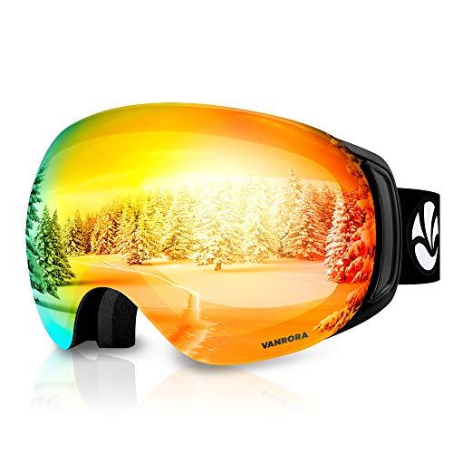 VANRORA OTG Ski Goggles, Snowboard Goggles, Black / Revo Red (VLT 17%)