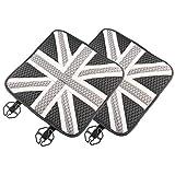 【TERA】シートクッション 車 イギリス国旗 ユニオンジャック ミニクーパー MINI BMW (グレー)