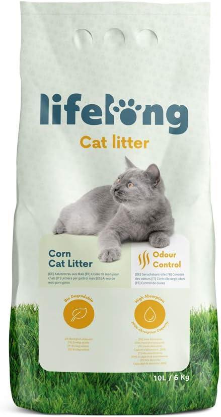 Marca Amazon Lifelong Arena de maíz para gatos 10L
