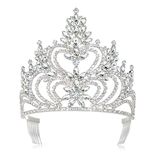 DcZeRong 5 Inch Tall Large Tiara Adult Women Birthday Pageant Prom Queen Silver Crystal Rhinestone Crown Big Crowns Tiara Birthday Queen Crown Tiara