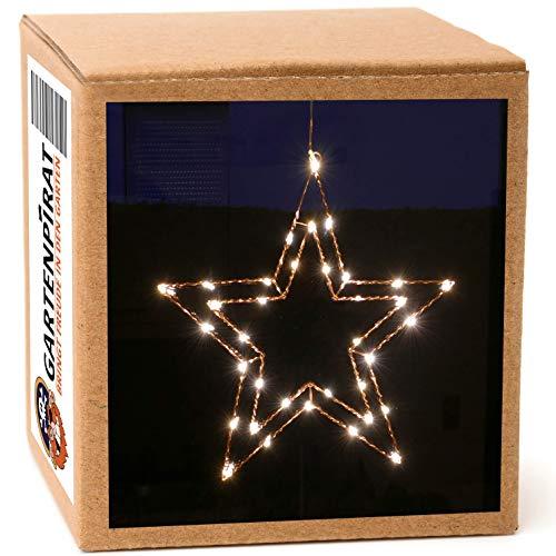 Gartenpirat Draht-Stern 47 cm Kupfer mit 35 LED beleuchtet Fensterstern Weihnachtstern