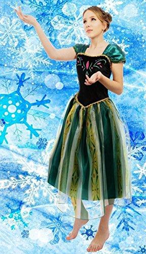 Donne Signora Adulte Frozen Regina Anna Costume Cosplay Party Abito fantasia Da Sera Vestito attrezzatura regalo di Natale (XS(uk size 6-8))