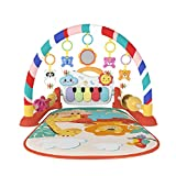 Eners Baby Gyms Play Mats Musical Activity Center Kick & Play Piano Gym Tummy Time Padded Mat for Newborn Toddler Infants(Red)