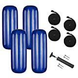 VINGLI 4-Pack Ribbed Boat Fender 10 x 28 inch with Ropes & Inflator, for 20-30 ft. Boat, Small Sailboat, Ski Boat etc.… (Cobalt Blue, 10 x 28 in)