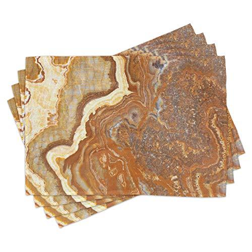 Juego de 4 manteles individuales de mármol con tonos tierra y estructura natural travertino para mesa de comedor, tamaño estándar, color amarillo y canela