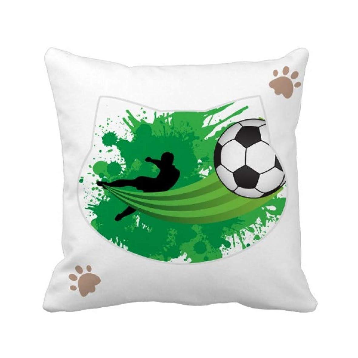はがき実証する時代遅れハエサッカースポーツあなたのテキスト 枕カバーを放り投げる猫広場 50cm x 50cm