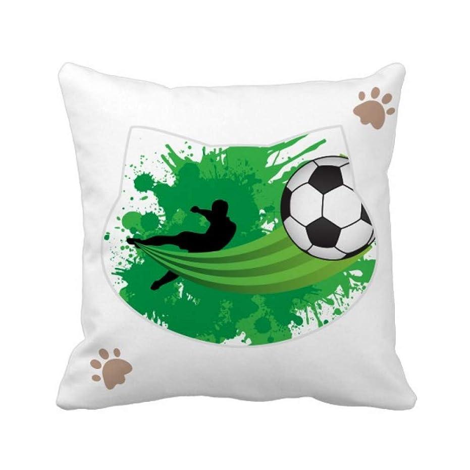 ミスペンド囲いフェザーハエサッカースポーツあなたのテキスト 枕カバーを放り投げる猫広場 50cm x 50cm