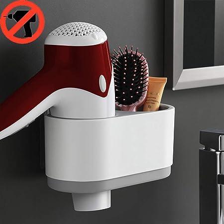 JIAHU Adhesive Wall Mounted Stick On Metal Hair Dryer Holder Spiral Hairdryer Black