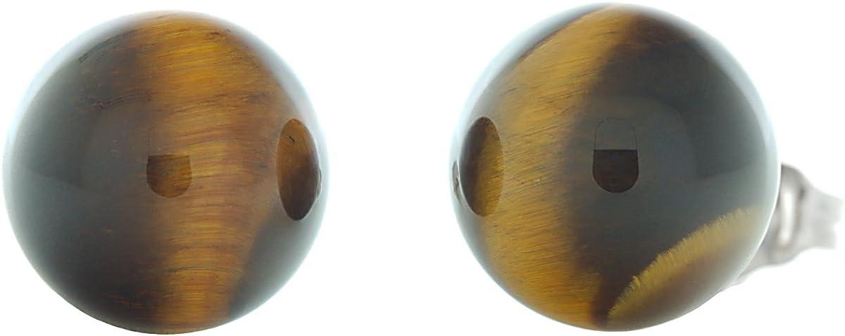 Trustmark 14K White Gold 10mm Natural Brown Tigers Eye Ball Stud Post Earrings