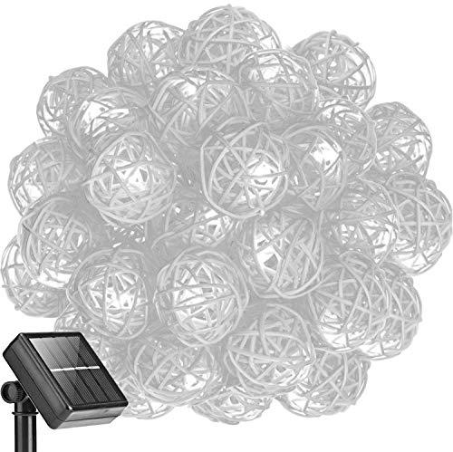 kingcoo® 16.4 ft 20 LED Guirlande Lumineuse Boule Rotin Lampe à énergie solaire Globe lumineux de Noël extérieur étanche pour jardin décoration maison mariage fête de Noël, Plastique, blanc 0.20 wattsW