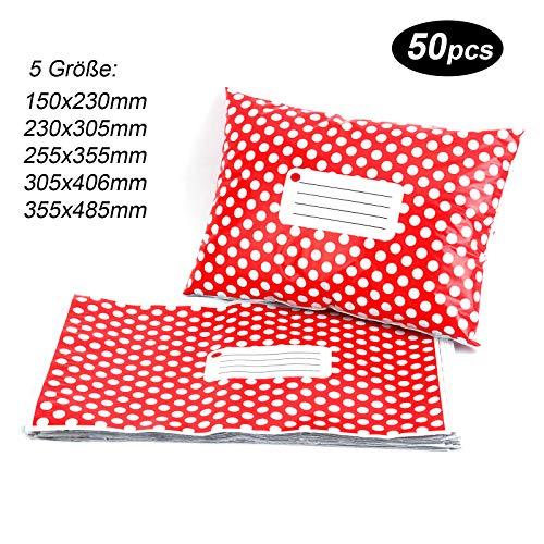 50st Versandtaschen Versandbeutel Versandtueten Blickdicht, Red Polka Dots, 150x230MM