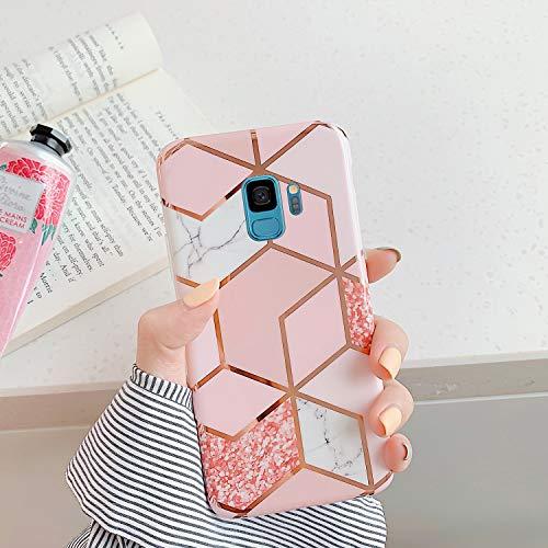 Surakey Cover Compatibile con Samsung Galaxy S9 Custodia Silicone Morbido Modello Geometric Marmo Case con Flessibile TPU Bumper Moda Ultra Slim Anti-Scratch Cover per Samsung Galaxy S9,Rosa Bianca