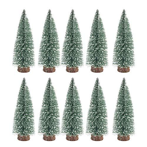 BESPORTBLE 10er Pack Mini Weihnachtsbaum Dekor Ornamente mit schneebedeckten Kiefern DIY Tisch Desktop Dekoration für Zuhause Shop - 10cm