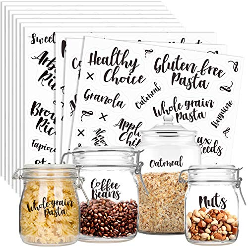 Hebayy 281 PCS Clear Cursive Pantry Labels Set Water Resistant with Customizable Stickers for Food Containers, Jars