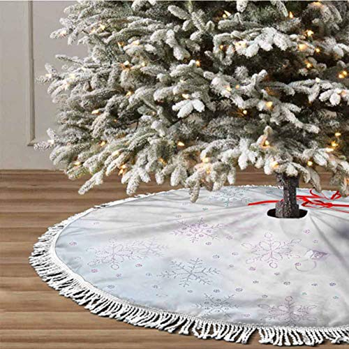 Christmas Tree Skirt, 30 inches Christmas Decoration Fringed Lace (Christmas Theme) Themed with Christmas Ornaments