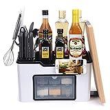 Especiero Cocina, Organizador de Especias con 6 tarros de Especias para condimento,colección de Soportes de Almacenamiento Estante de Cocina (15 x 9,2 x 7,5 Pulgadas)
