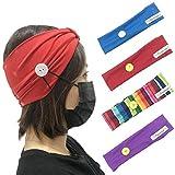 Unicra - Set di 4 fasce per capelli con bottoni per maschera, morbidi e comodi, protezione...