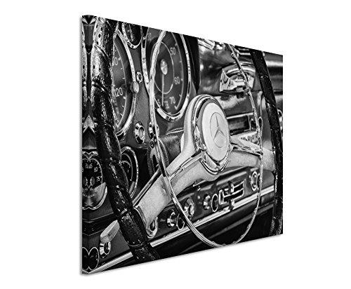 Sinus Art 50x70cm Wandbild Fotoleinwand Bild in Schwarz Weiss Retro Bild Mercedes -Benz