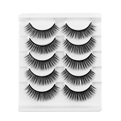 SKONHED 5 Pairs Mode der Frau Wispy Flared Natürliche Lange Handarbeit Erweiterung der Augenlast 3D Faux Mink Hair Querformat Falsche Augenbrauen(08)
