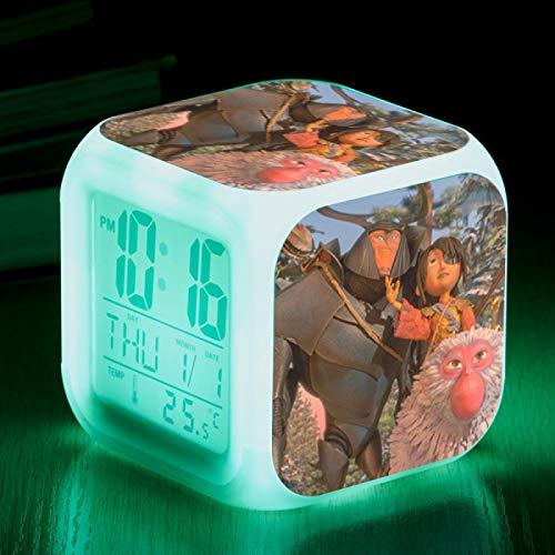 huangyung Reloj Despertador de Dibujos Animados,Kubo Vistoso Reloj Despertador para niños, Reloj Despertador Digital con luz, Reloj Despertador pequeño de Color, (8 * 8 * 8CM) 3