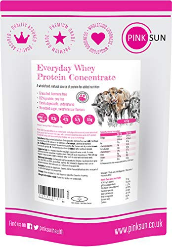 PINK SUN Whey Protein Concentrate Powder Unflavoured 420g (82% Protein) Soy Free Grass Fed Gluten Free Vegetarian Undenatured Non GM Unsweetened Everyday Whey UK