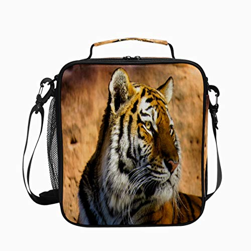 Tiger Predator Wildlife Fur Premium Insulated Lunch Box Spacious Durable School Lunch Bag for Kids Boys Girls Reusable Leakproof Cooler Tote Bag with Removable Shoulder Strap for Adults Men Women