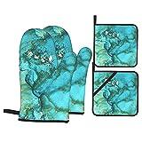 Depositphotos Stock de ilustración Efecto mármol Azul Verde Oro (2080) Guantes de Horno y Soportes para ollas Juegos de Guantes de Horno de Cocina Resistentes al Calor Almohadilla Caliente p
