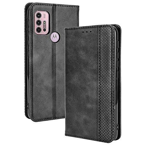 ALAMO Retro Klapp Hülle für Motorola Moto G10 / G20 / G30, Premium PU Leder Handyhülle mit Kartenfächer & Geldbeutel - Schwarz