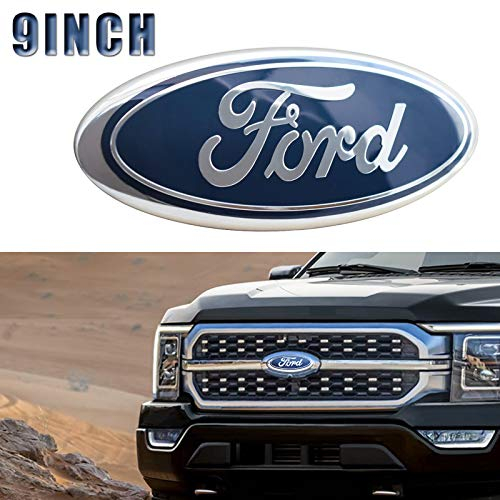 For Ford Emblem, Blue 9 INCH Grille Emblem Front Tailgate Badge Replacement Plate Emblems for F-150 2004 to 2014, F-250/F-350 2005 to 2007, Explorer 2011 to 2016, Edge 2011 to 2014, EXPEDITION,RANGER