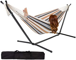 Double Hammock with Stand, 10ft Heavy Duty Iron Hammock with Space Saving Steel Stand Up to 450 Pounds Includes Portable Carrying Case Patio Yard and Beach Outdoor (Desert Moon)