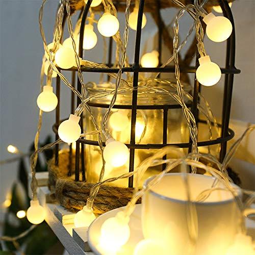Leds Globe Lichterkette, Partybeleuchtung Außen,Warmweiße Kugel Lichterkette, Ideal Weihnachtsbeleuchtung für Innen, Zimmer,IP65 (Warm White, 3m/ 20 Lichter/Batteries)