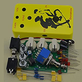 DIY DIY Distortion Pedals Kit With 1590B Style Effects Pedal Aluminum Stomp Box EnclosureYellow