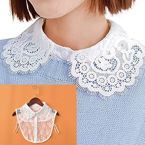 DACCU - Camiseta de cuello para mujer (cuello extraíble), color negro y blanco Dropship Big Hua ling - Camisa de vestir