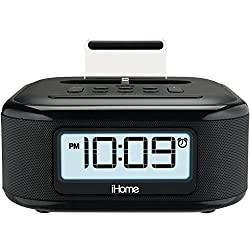 iHome iPL23 Alarm Clock FM Radio with Lightning iPhone Charging Dock Station for iPhone Xs, XS Max, XR, X, iPhone 8/7/6 Plus USB Port to Charge Any USB Device