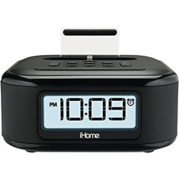iHome iPL23 Alarm Clock FM Radio with Lightning iPhone Charging Dock Station for iPhone XS XS Max XR X iPhone 8/7/6 Plus USB Port to Charge any USB Device