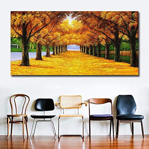 Moneda de oro Árbol Cartel Mural Arte Lienzo Pintura Mural Lienzo Pintura Sin marco Pintura Sala de estar