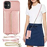 ZVEdeng Case for iPhone 11, 6.1inch, iPhone 11 Wallet Case with Card Holder, Crossbody Chain and Wrist Strap, iPhone 11 Kickstand Phone Case Crossbody Bag-Rose Gold