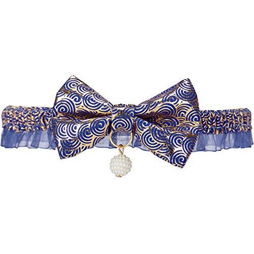 Blueberry Pet 1Stück zeitloses, handgefertigtes Katzenhalsband mit Schleife und Panikverschluss.