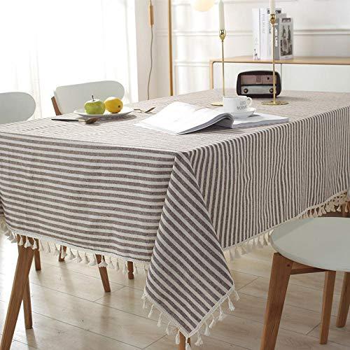 GTWOZNB Mantel Encerado Lavable Mantel Antimanchas Mantel a Prueba de Polvo para Interiores y Exteriores Rectángulo de Encaje de Borla Simple-café_120x120