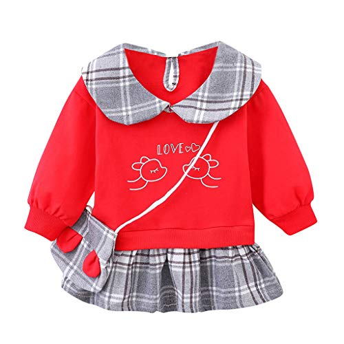 Filles Printemps Robe à Carreaux+Sac bandoulière 2 Pièces(6mois-3ans), Ewendy Bébé Cartoon Mini Robe Jupe en Tutu + Petit CAC Coton Robe Coréenne Mignon Jupe Robe de Princesse Baby Girls Spring Dress