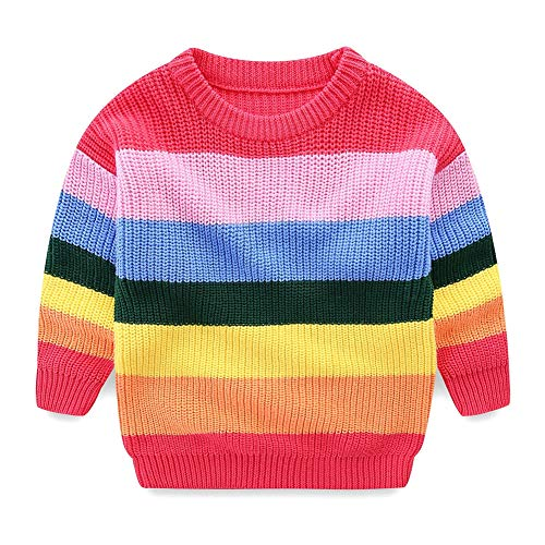 Mud Kingdom Baby Girl Sweater Cotton Pullover Cute Rainbow 18-24 Months