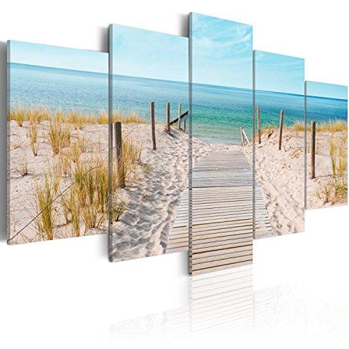 murando Cuadro en Lienzo Playa Mar 200x100 cm Impresión de 5 Piezas Material Tejido no Tejido Impresión Artística Imagen Gráfica Decoracion de Pared Paisaje Naturaleza c-B-0051-b-n